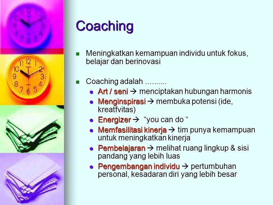 Coaching Meningkatkan kemampuan individu untuk fokus, belajar dan berinovasi. Coaching adalah ..........