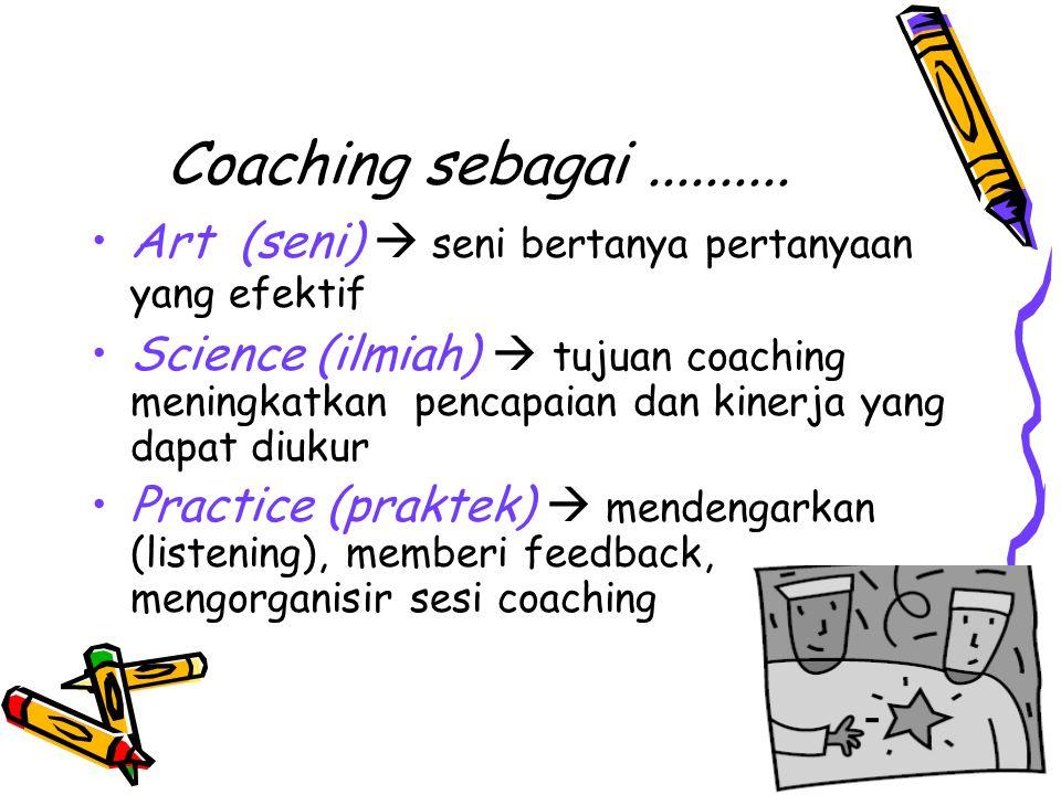 Coaching sebagai .......... Art (seni)  seni bertanya pertanyaan yang efektif.