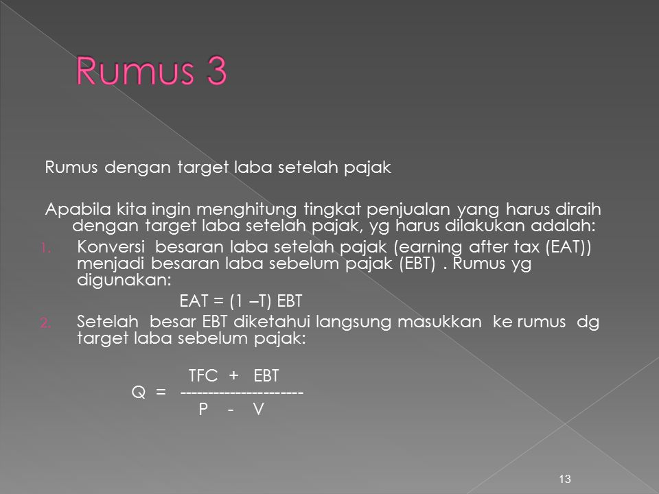 Rumus 3 Rumus dengan target laba setelah pajak