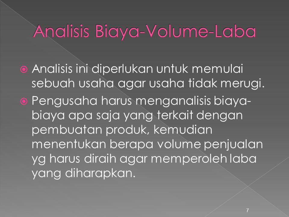 Analisis Biaya-Volume-Laba