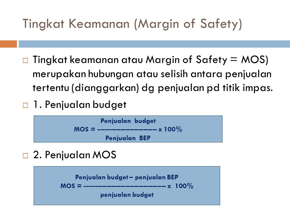 Tingkat Keamanan (Margin of Safety)