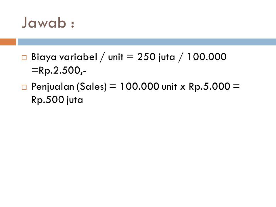 Jawab : Biaya variabel / unit = 250 juta / 100.000 =Rp.2.500,-