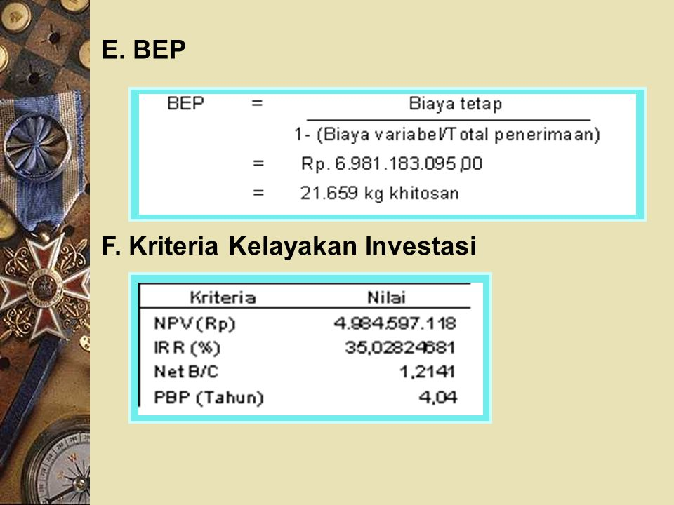 E. BEP F. Kriteria Kelayakan Investasi