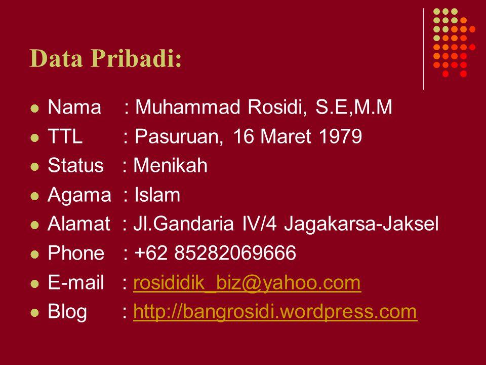 Data Pribadi: Nama : Muhammad Rosidi, S.E,M.M