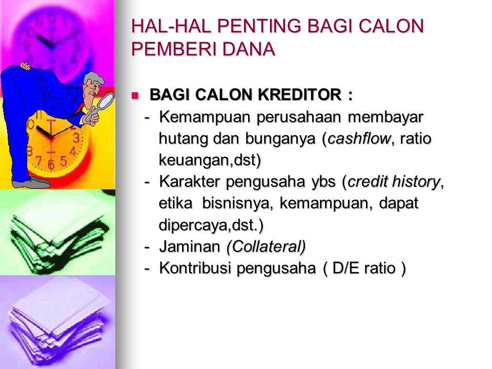 HAL-HAL PENTING BAGI CALON PEMBERI DANA