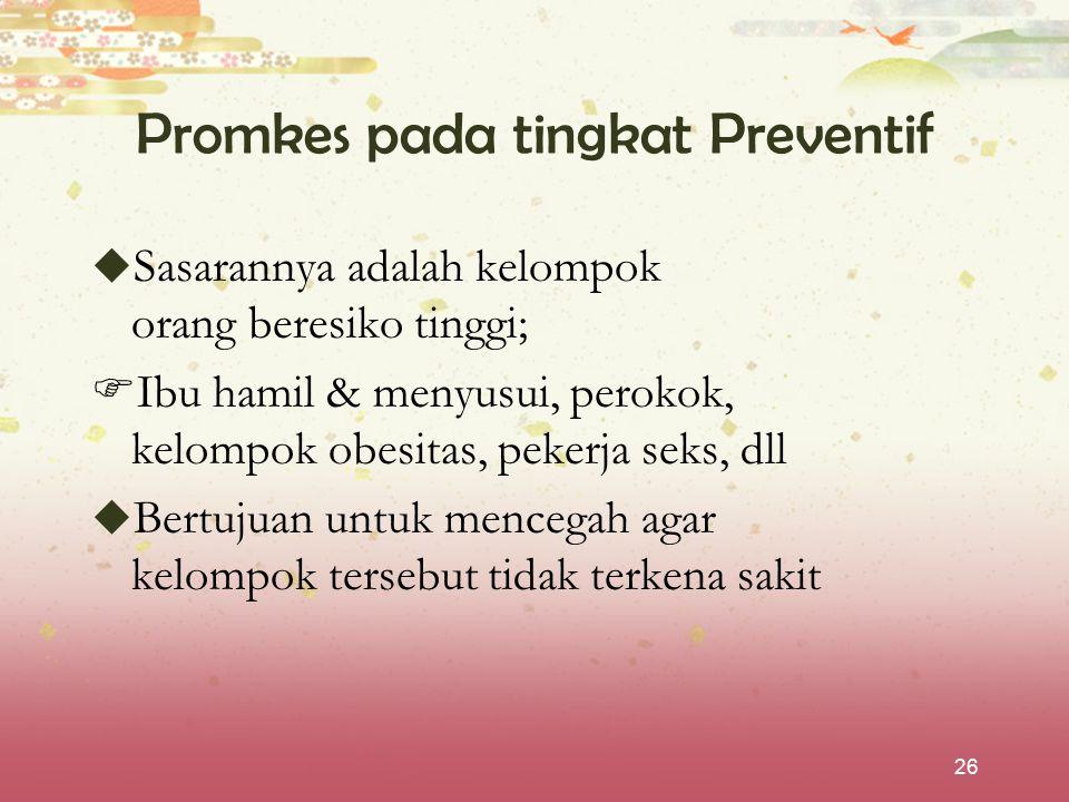 Promkes pada tingkat Preventif