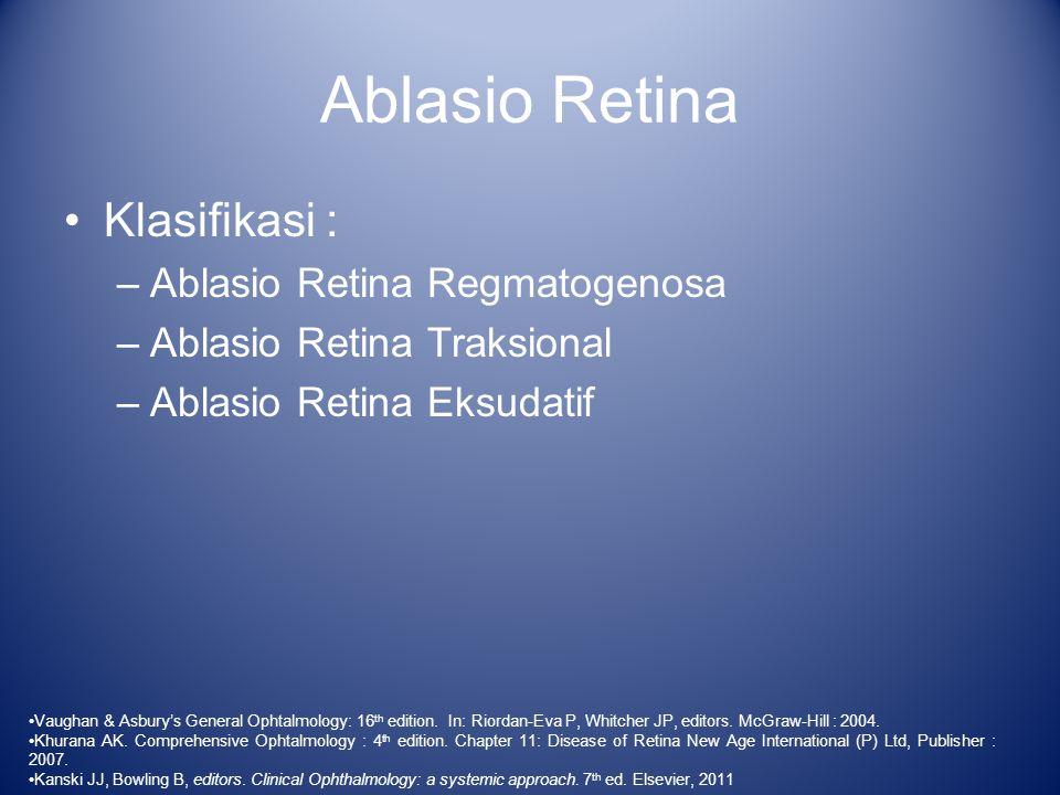 Ablasio Retina Klasifikasi : Ablasio Retina Regmatogenosa