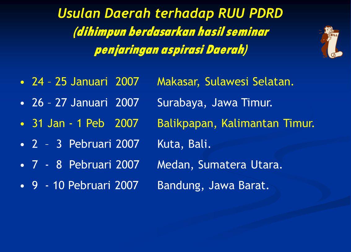 Usulan Daerah terhadap RUU PDRD (dihimpun berdasarkan hasil seminar