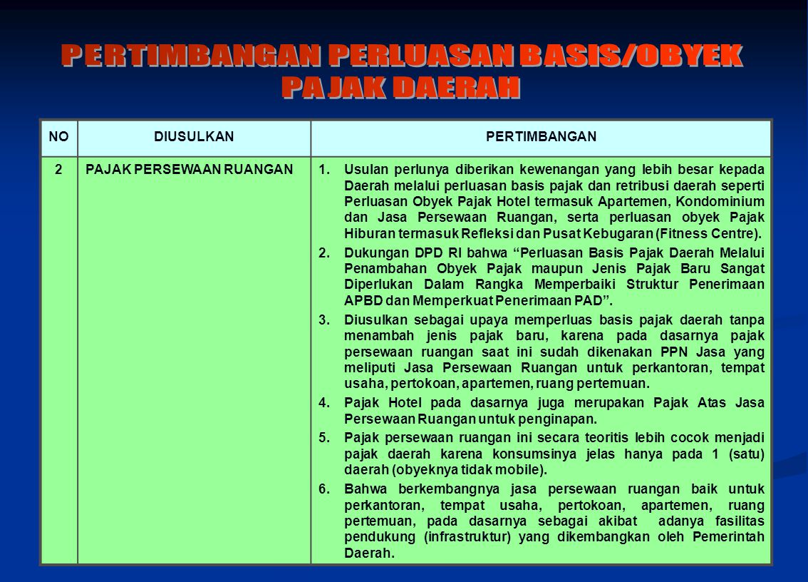 PERTIMBANGAN PERLUASAN BASIS/OBYEK