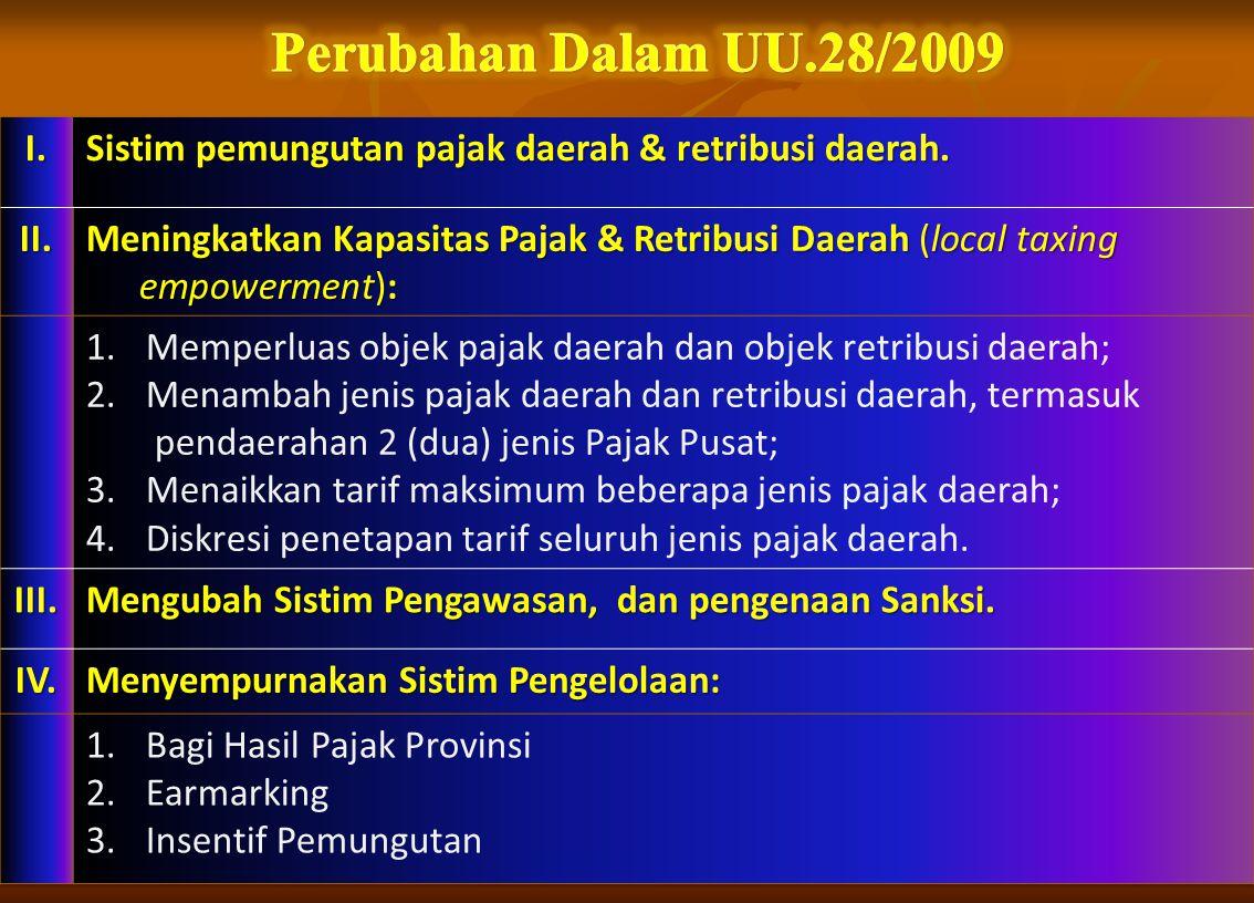 Perubahan Dalam UU.28/2009 I. Sistim pemungutan pajak daerah & retribusi daerah. II.