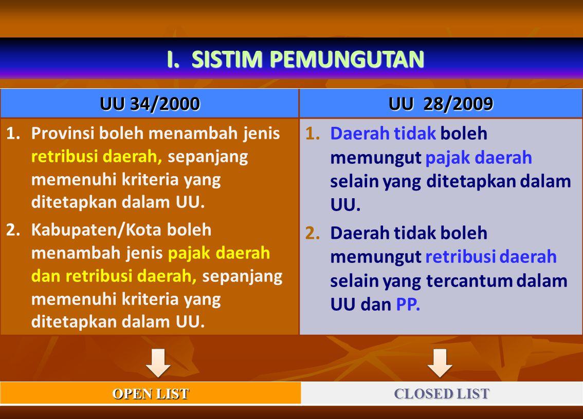 I. SISTIM PEMUNGUTAN UU 34/2000 UU 28/2009