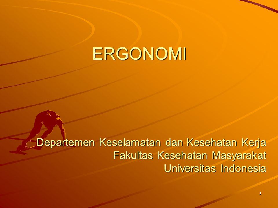 ERGONOMI Departemen Keselamatan dan Kesehatan Kerja Fakultas Kesehatan Masyarakat Universitas Indonesia.