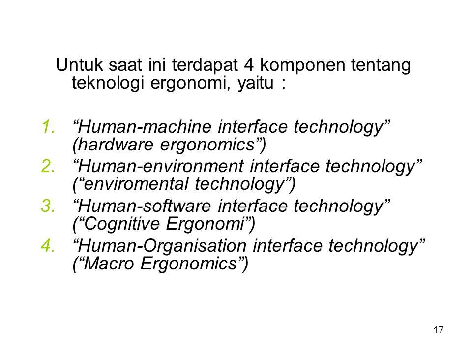 Untuk saat ini terdapat 4 komponen tentang teknologi ergonomi, yaitu :