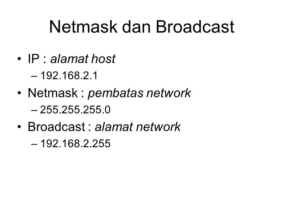 Netmask dan Broadcast IP : alamat host Netmask : pembatas network