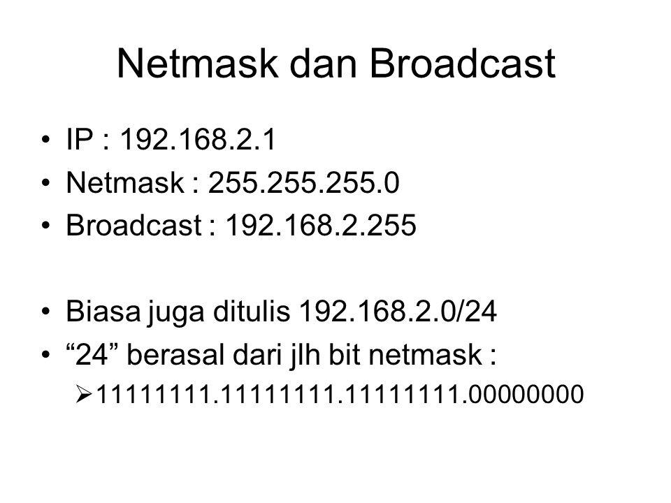 Netmask dan Broadcast IP : 192.168.2.1 Netmask : 255.255.255.0