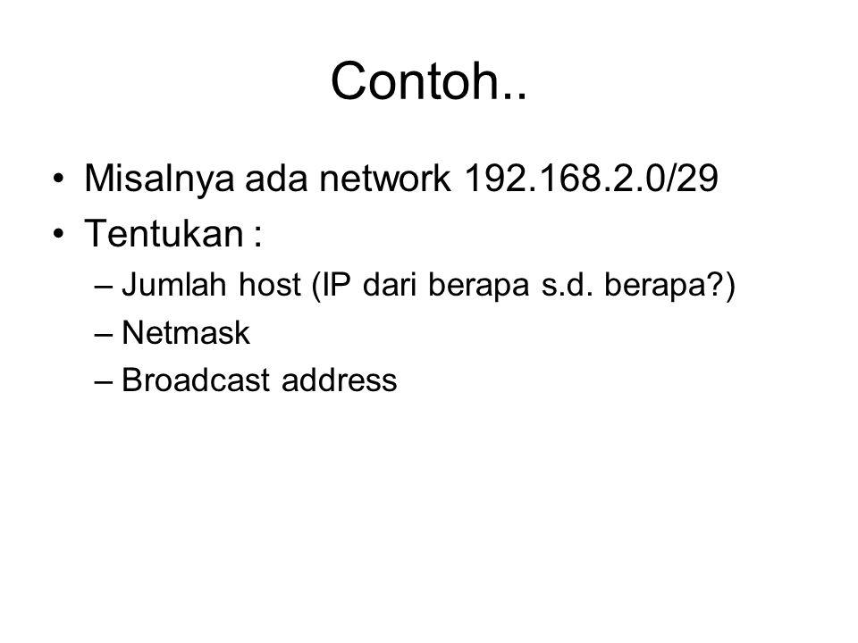 Contoh.. Misalnya ada network 192.168.2.0/29 Tentukan :