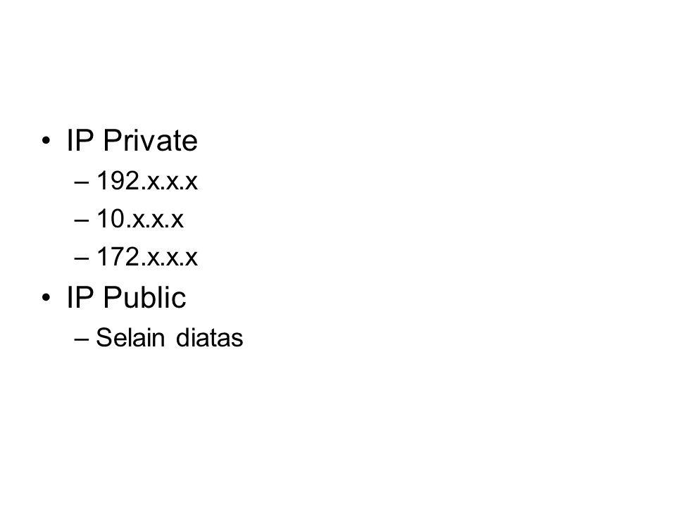 IP Private 192.x.x.x 10.x.x.x 172.x.x.x IP Public Selain diatas