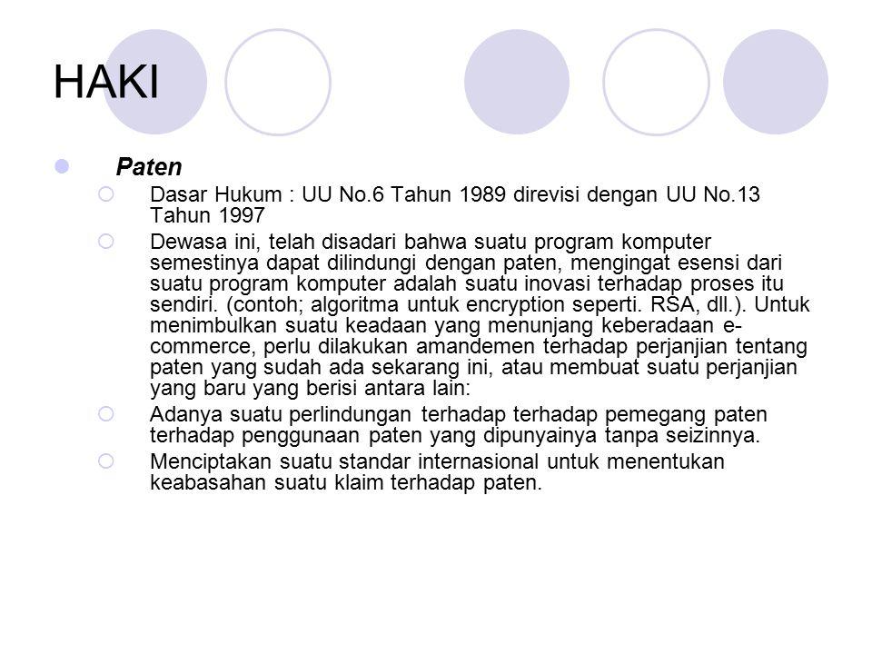 HAKI Paten. Dasar Hukum : UU No.6 Tahun 1989 direvisi dengan UU No.13 Tahun 1997.