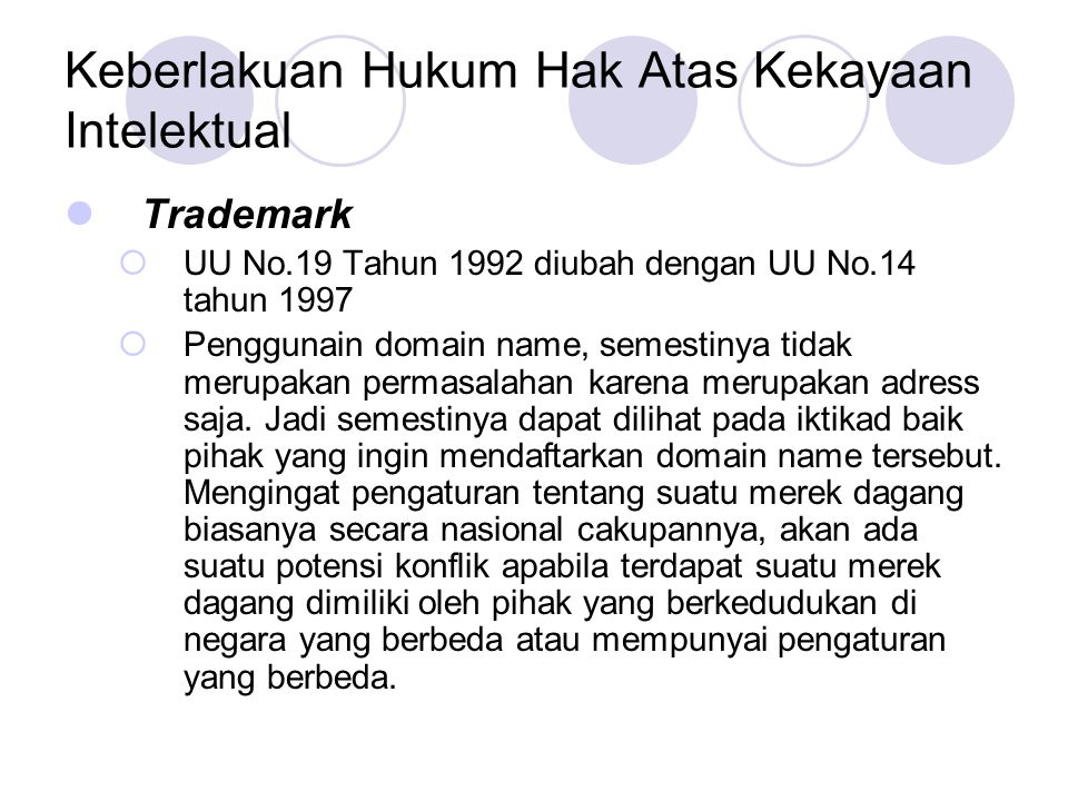 Keberlakuan Hukum Hak Atas Kekayaan Intelektual