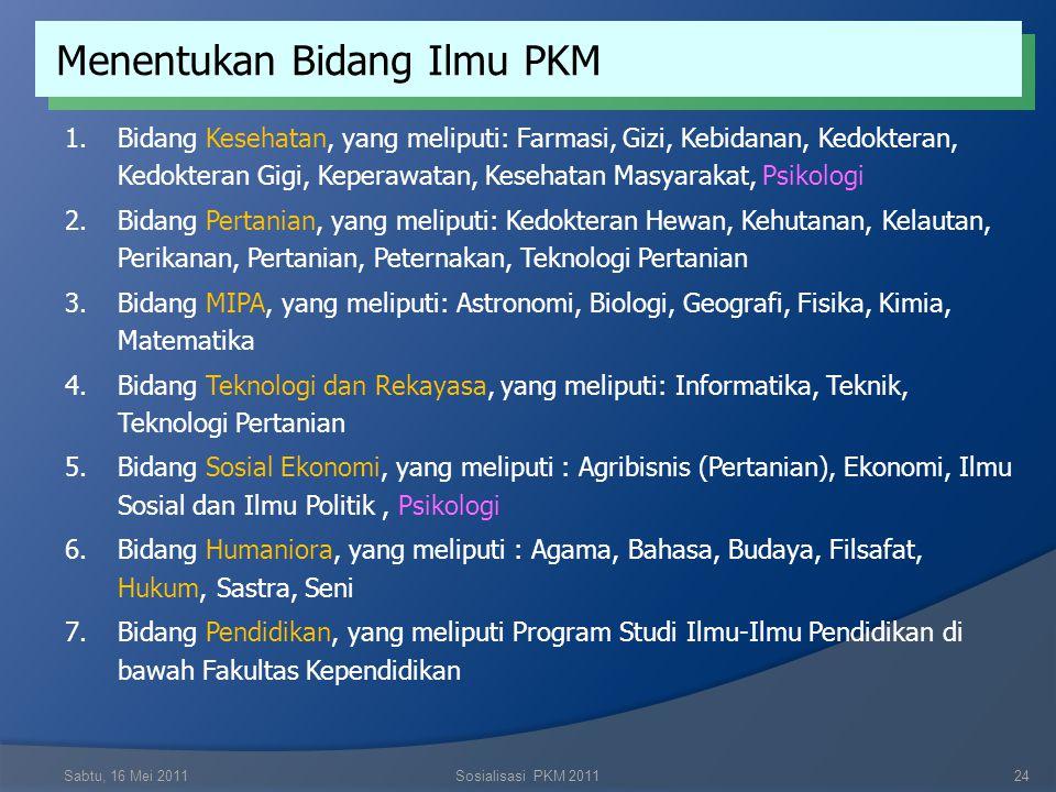 Menentukan Bidang Ilmu PKM