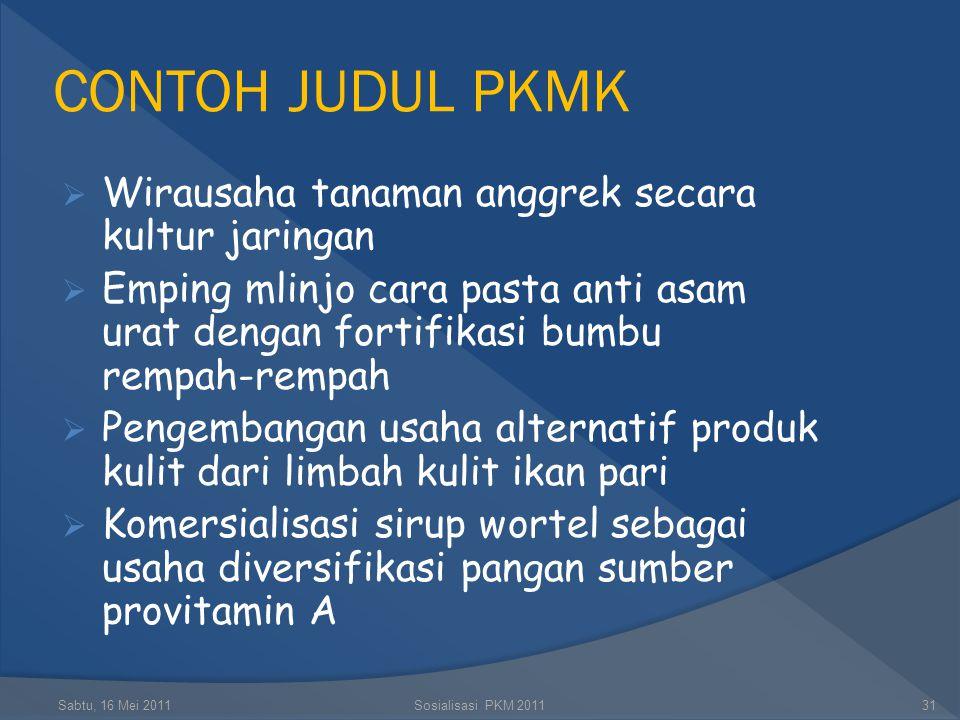 CONTOH JUDUL PKMK Wirausaha tanaman anggrek secara kultur jaringan