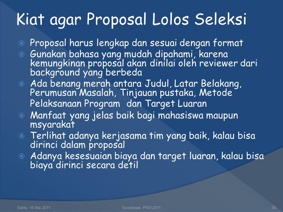 Kiat agar Proposal Lolos Seleksi
