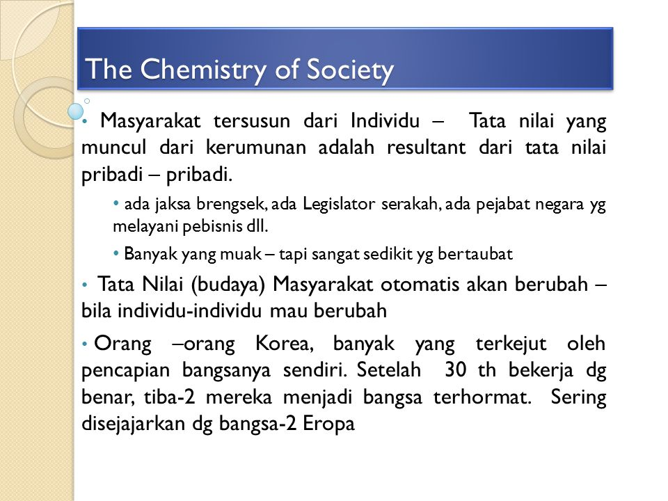 The Chemistry of Society