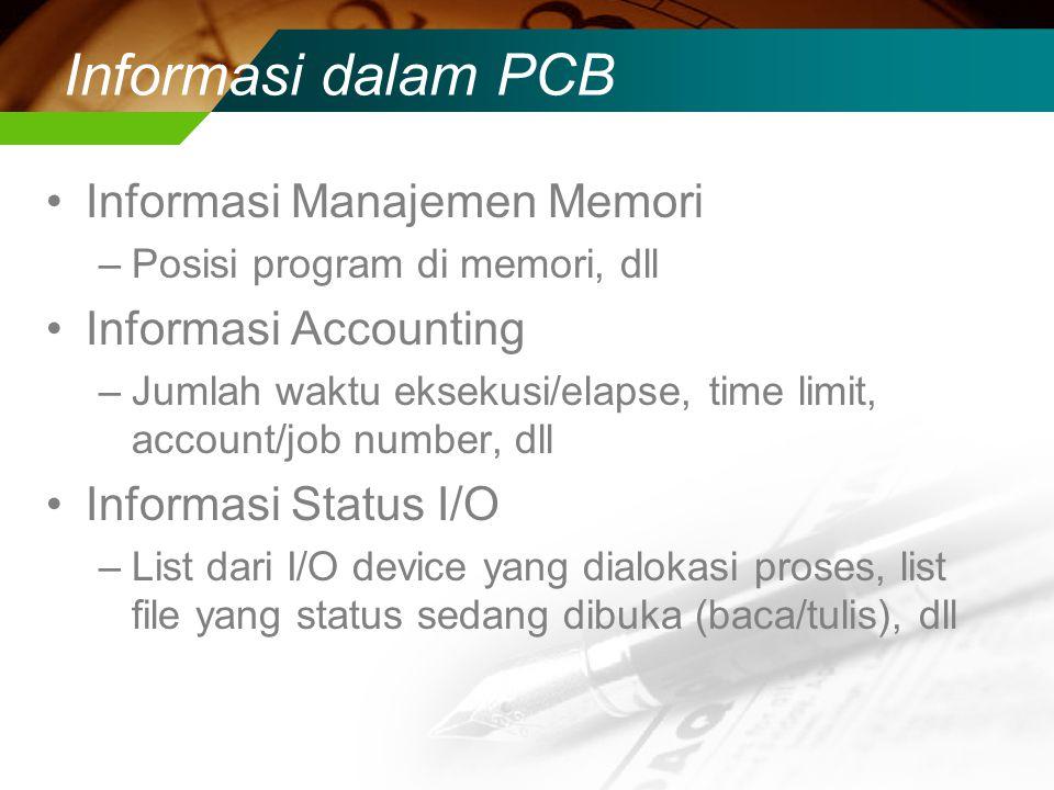 Informasi dalam PCB Informasi Manajemen Memori Informasi Accounting