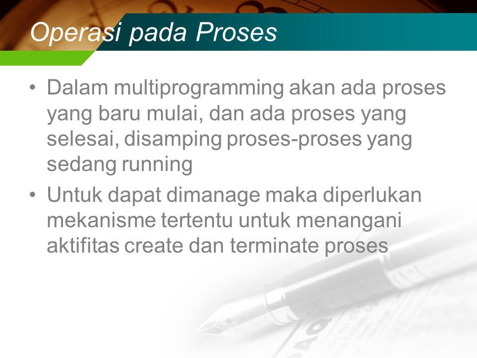Operasi pada Proses Dalam multiprogramming akan ada proses yang baru mulai, dan ada proses yang selesai, disamping proses-proses yang sedang running.