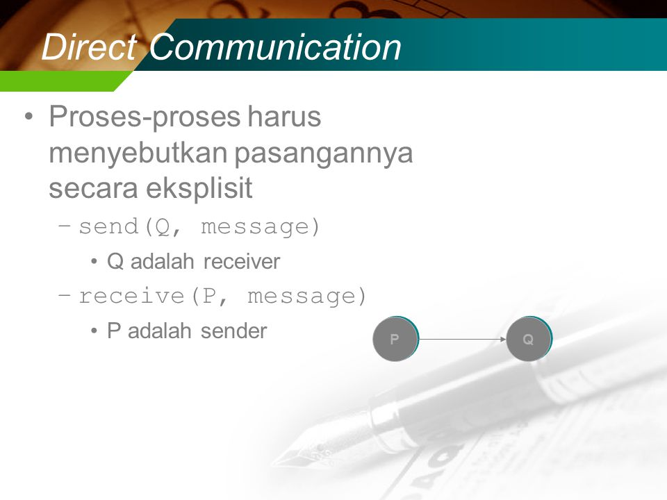 Direct Communication Proses-proses harus menyebutkan pasangannya secara eksplisit. send(Q, message)