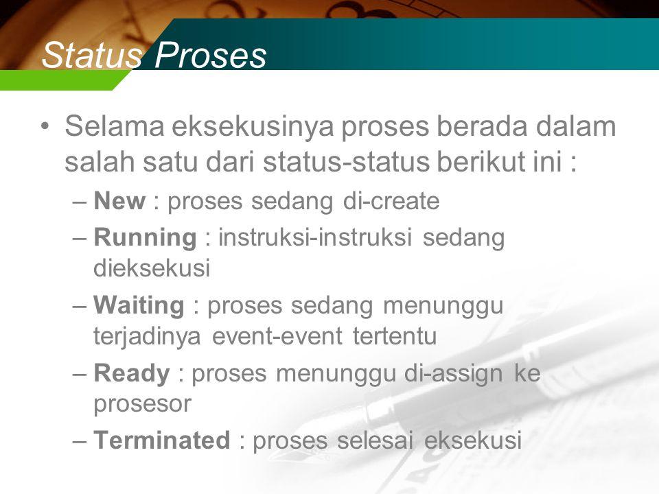 Status Proses Selama eksekusinya proses berada dalam salah satu dari status-status berikut ini : New : proses sedang di-create.