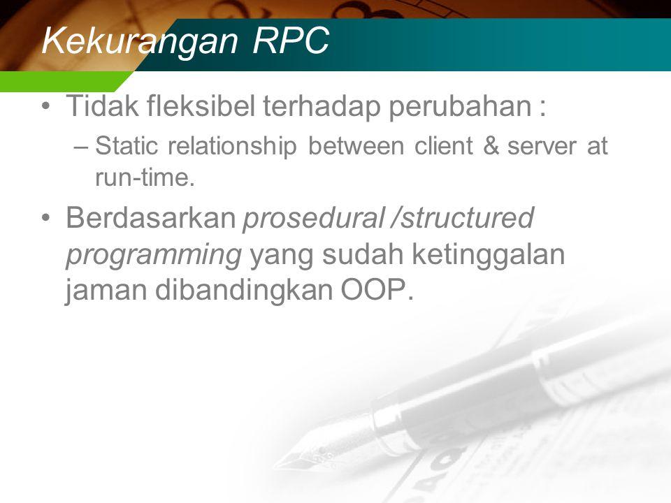 Kekurangan RPC Tidak fleksibel terhadap perubahan :