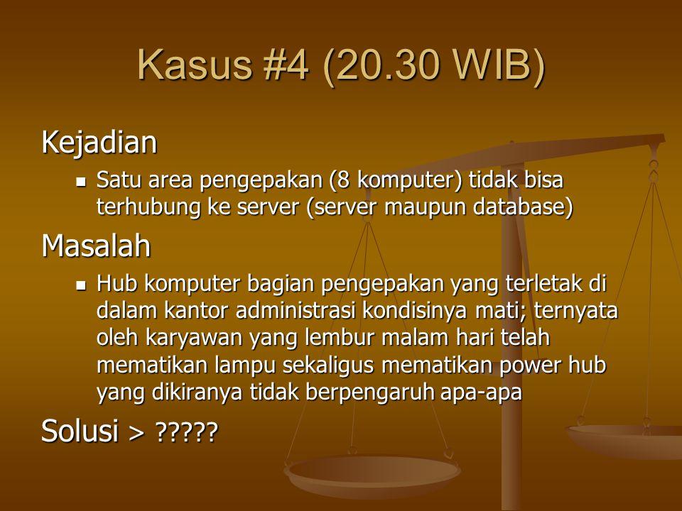 Kasus #4 (20.30 WIB) Kejadian Masalah Solusi >