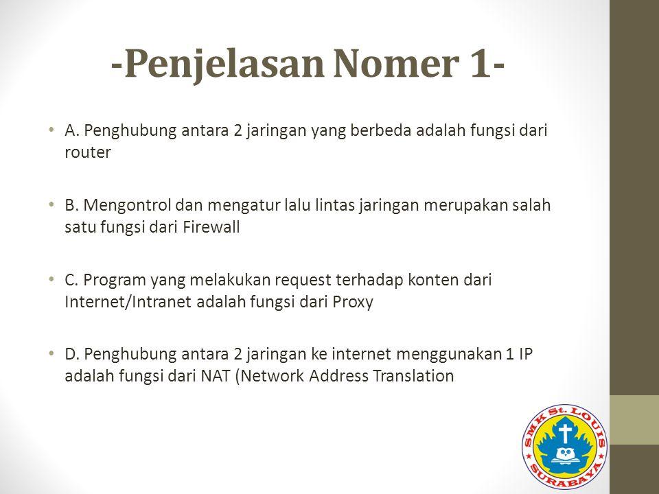 -Penjelasan Nomer 1- A. Penghubung antara 2 jaringan yang berbeda adalah fungsi dari router.