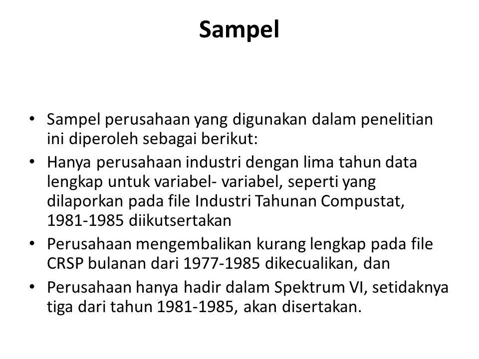 Sampel Sampel perusahaan yang digunakan dalam penelitian ini diperoleh sebagai berikut: