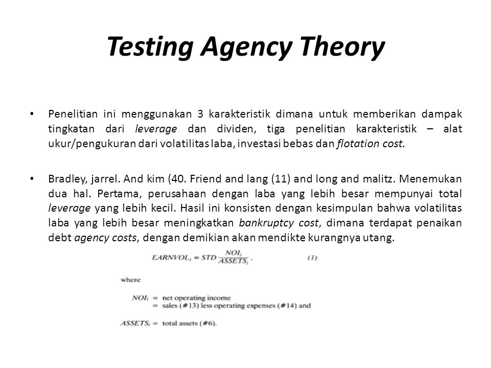 Testing Agency Theory