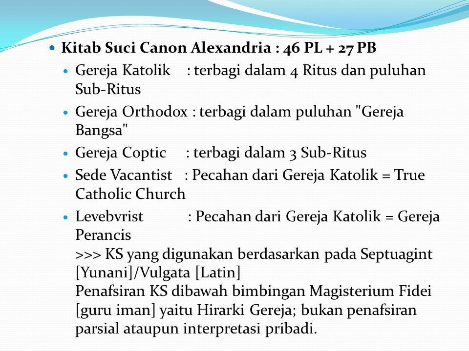 Kitab Suci Canon Alexandria : 46 PL + 27 PB