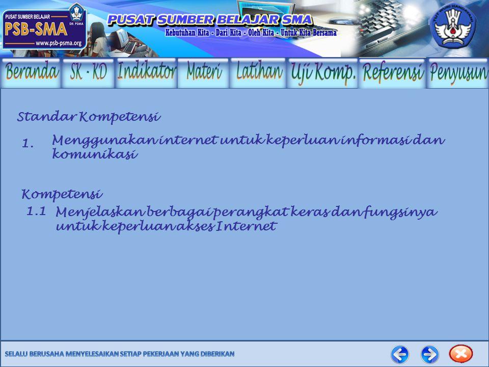 Standar Kompetensi Menggunakan internet untuk keperluan informasi dan komunikasi. 1. Kompetensi. 1.1.