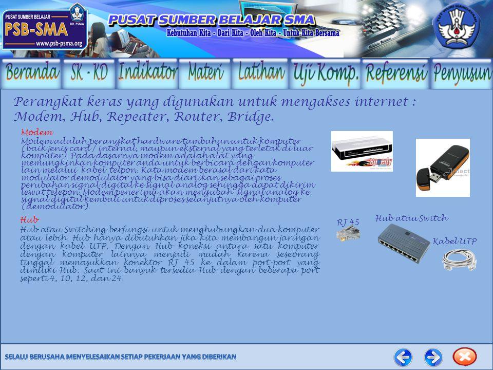 Perangkat keras yang digunakan untuk mengakses internet :