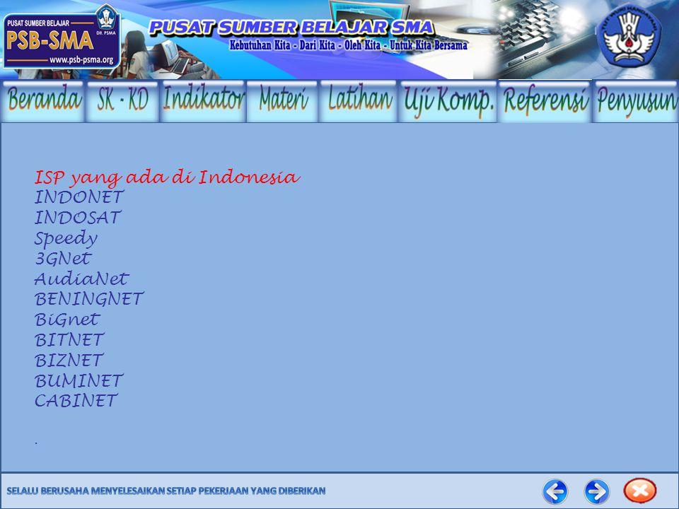 ISP yang ada di Indonesia INDONET INDOSAT Speedy 3GNet AudiaNet