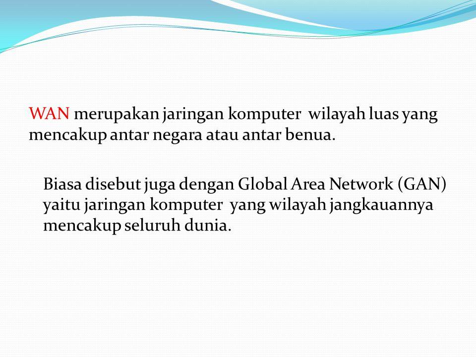 WAN merupakan jaringan komputer wilayah luas yang mencakup antar negara atau antar benua.