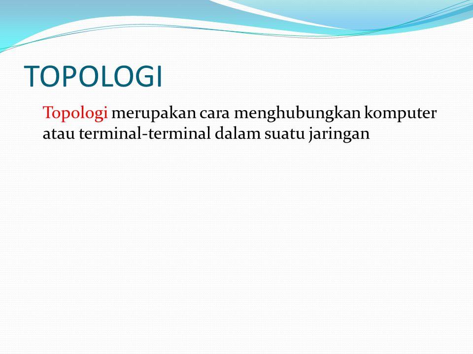 TOPOLOGI Topologi merupakan cara menghubungkan komputer atau terminal-terminal dalam suatu jaringan