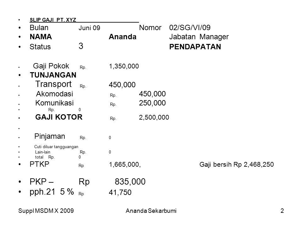 PKP – Rp 835,000 pph.21 5 % Rp 41,750 Bulan Juni 09 Nomor 02/SG/VI/09