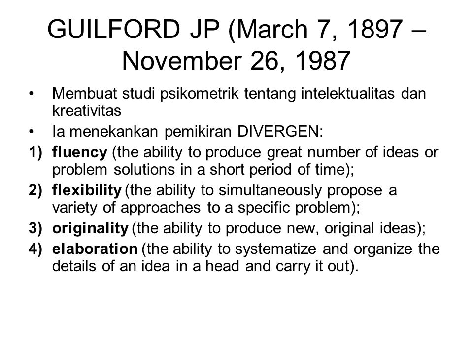 GUILFORD JP (March 7, 1897 – November 26, 1987