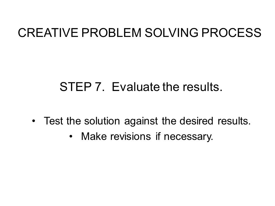 CREATIVE PROBLEM SOLVING PROCESS