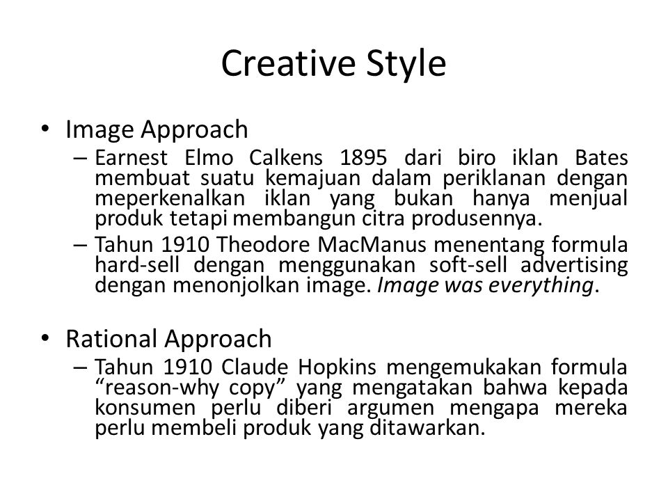 Creative Style Image Approach Rational Approach