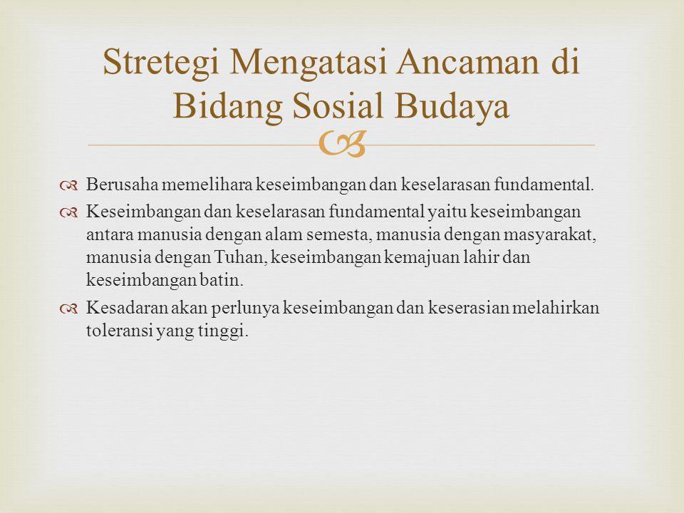Stretegi Mengatasi Ancaman di Bidang Sosial Budaya