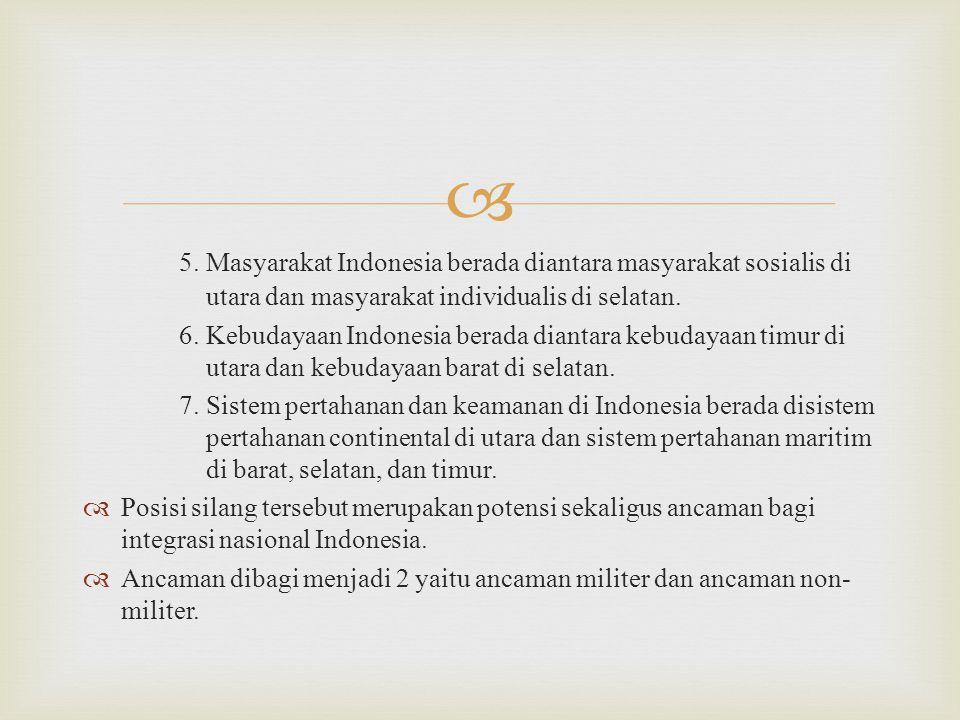 5. Masyarakat Indonesia berada diantara masyarakat sosialis di