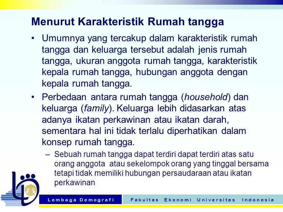 Menurut Karakteristik Rumah tangga