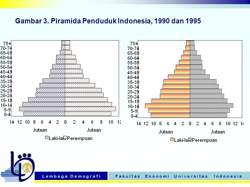 Gambar 3. Piramida Penduduk Indonesia, 1990 dan 1995